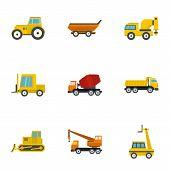 Heavy Vehicle Icon Set. Flat Set Of 9 Heavy Vehicle Icons For Web Isolated On White Background poster