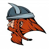 Viking Warrior In Combat Helmet Suitable As Logo Or Team Mascot, Viking Logo, Vector Graphics To Des poster