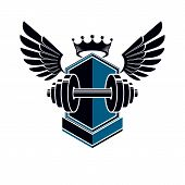 Sport Logo For Weightlifting Gym And Fitness Club, Vintage Style Vector Emblem With Wings. With Barb poster