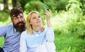 Nature Beauty Concept. Woman Enjoy Relax Nature Background. Pure Nature. Couple With Green Leaf Rela poster