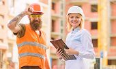 Purchase Of Building Materials. Construction Industry. Foreman Established Supply Of Building Materi poster