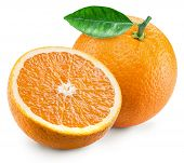 Orange fruit with green leaf and orange slice. File contains clipping path. poster