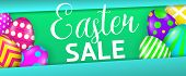 Easter Sale Colorful Banner Design. Bright Colored Eggs On Green And Blue Background. Illustration C poster