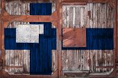 Close-up Of Old Warehouse Gate With National Flag Of Finland. The Concept Of Export-import Finland,  poster