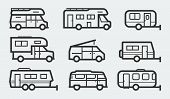 Recreational Vehicles Camper Vans Icons In Outline Style poster