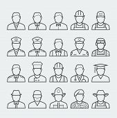 People Professions And Occupations Icon Set In Thin Line Style 1 poster