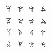 Weightlifting Vector Icon Set In Thin Line Style poster