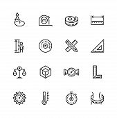 Measuring Tools And Measures Vector Icon Set In Thin Line Style poster