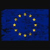 Flag Of Europe Flag Of European Union . Brush Painted Flag Of Europe Hand Drawn Style Illustration W poster