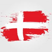 Denmark Flag. Brush Painted Denmark Flag. Hand Drawn Style Illustration With A Grunge Effect And Wat poster