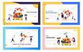 Office Worker Moving To Beach Concept Landing Page. Happy Business Character Pack For Vacation Set.  poster