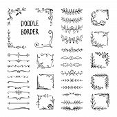 Doodle Border. Flower Ornament Frame, Hand Drawn Decorative Corner Elements, Floral Sketch Pattern.  poster