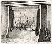 image of gobelin  - Loom in Gobelins Manufactory old illustration - JPG
