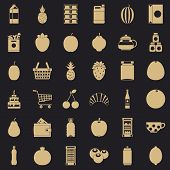 Different Beverage Icons Set. Simple Style Of 36 Different Beverage Vector Icons For Web For Any Des poster