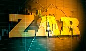Forex Candlestick Pattern. Trading Chart Concept. Financial Market Chart. South African Rand Symbol. poster