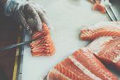Asian Chef Slice Japanese Food Sashimi Salmon poster