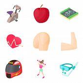 Cardio Training Icons Set. Cartoon Set Of 9 Cardio Training Icons For Web Isolated On White Backgrou poster