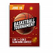 Basketball Tournament Announcement Realistic Poster. Streetball Game Flyer poster