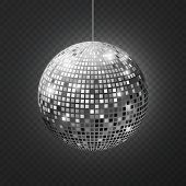 Mirror Disco Ball. Soffit Reflection Ball Mirrored Disco Party Silver Glitter Equipment Retro Halo R poster