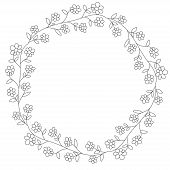 Doodle Illustration. Hand Drawn Frame. Vintage Set Of Doodle Wreath. Great Design For Any Purposes.  poster