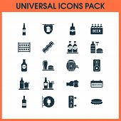 Beverages Icons Set With Beer In Hand, Stand With Glasses, Column Brewery Elements. Isolated  Illust poster