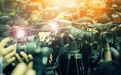 Large Number Of Press And Media Reporter In Broadcasting Event poster