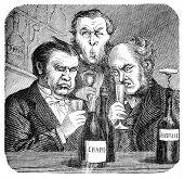 stock photo of snob  - 19th century wine snobs - JPG