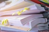 Stack Of Report Paper Documents For Business Desk, Business Papers For Annual Report Files, Document poster