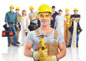 picture of electrician  - Group of industrial workers with yellow helmet isolated over white background - JPG