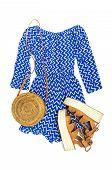 Stylish Trendy Feminine Summer Clothing Blue Dress Jumpsuit, Sandals Round Rattan Bag Sprig Eucalypt poster