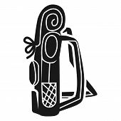 Large Tourist Backpack Side Icon. Simple Illustration Of Large Tourist Backpack Side Vector Icon For poster