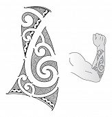 stock photo of maori  - Maori style tattoo design fit for a forearm - JPG