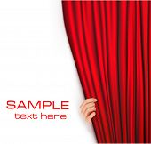 stock photo of curtain  - Backgrounds with red velvet curtain - JPG