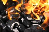 picture of flame-grilled  - charcoals engulfed in flames - JPG