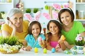 Portrait Of Big Happy Family Painting Traditional Easter Eggs poster