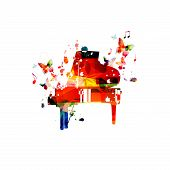 Colorful Piano With Music Notes Isolated Vector Illustration Design. Music Background. Music Instrum poster