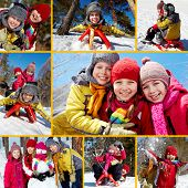 foto of toboggan  - Collage of happy friends on winter vacations - JPG