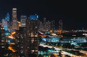 Downtown Chicago Cityscape Skyscrapers Skyline At Night poster