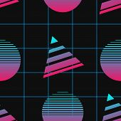 Vaporwave Seamless 80s Style Pattern With Geometric Shapes. poster