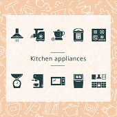 Set Of Kitchen Appliances Isolated From The Background. Well Tracked Items Of Kitchen Appliances. poster