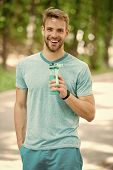 Healthy Lifestyle. Healthy Lifestyle Of Happy Sportsman. Athletic Man With Healthy Water Keep Sport  poster
