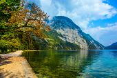 Königssee - the cleanest lake in Germany. Mountain Lake is a fabulous beauty in Bavaria. Small pro poster