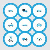 Automobile Icons Colored Set With Convertible Model, Truck, Fixing And Other Lorry Elements. Isolate poster