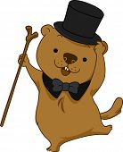 pic of groundhog  - Illustration of a Groundhog Dancing Happily - JPG
