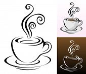 image of coffee cups  - coffee cups icons in different colours  - JPG