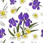 Seamless Vector  Pattern Of Narcissus, Iris Flowers. Endless Botany Texture For Fabrics, Textile Pri poster