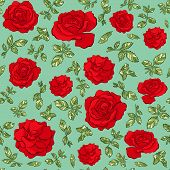 Vector Seamless Pattern Of Hand Drawn Sketch Red Roses Flowers. Endless Botany Texture For Fabrics,  poster