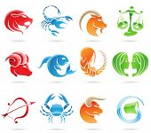 stock photo of zodiac  - Glowing zodiacs isolated on a white background - JPG