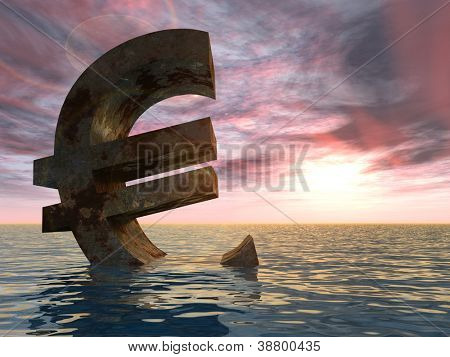High resolution conceptual 3D currency euro sign or symbol sinking in water,sea or ocean as a concept for European crisis. It is a metaphor for financial,banking, economy,problem,danger,risk at sunset