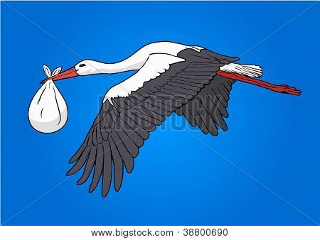 Flying stork with a bundle, vector illustration